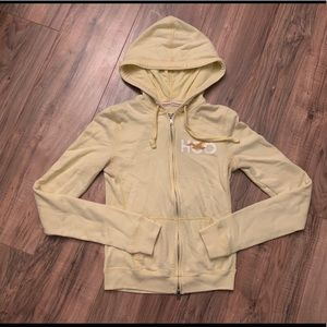 Hollister Cali Pale Yellow Zip Up Hoodie